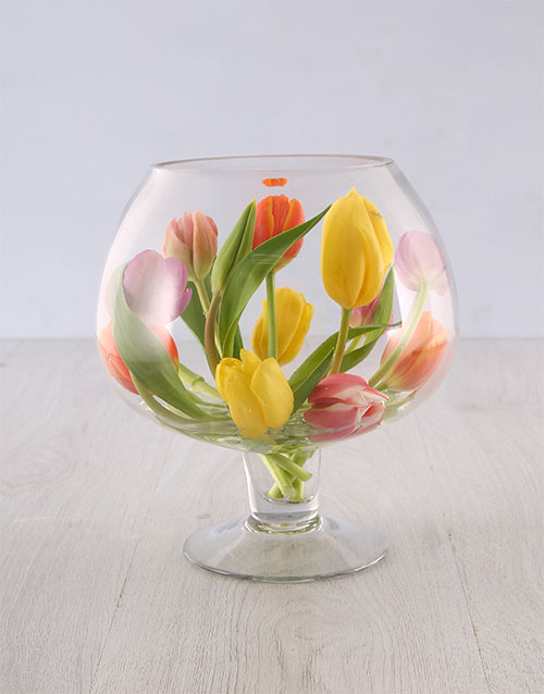 tulips: Tulips in a Wine Glass Shaped Vase!