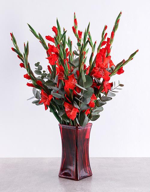 colour: Red Gladioli in Red Square Vase!