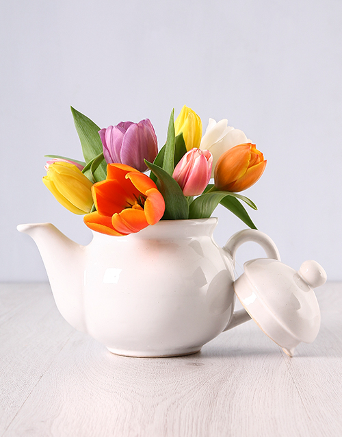 pottery: Tulips in a Teapot!
