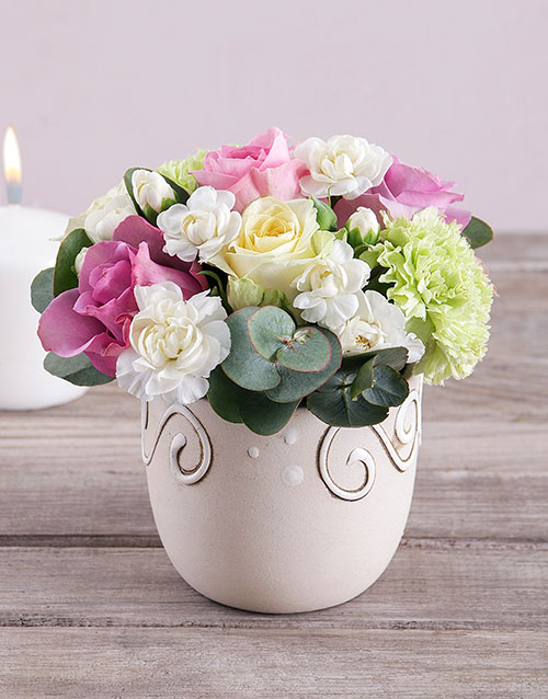 pottery: Roses and Carnations in Ceramic Pot!