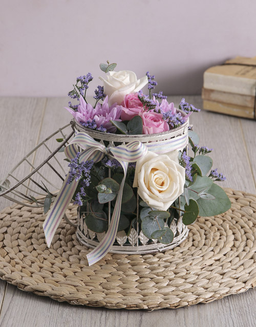 grandparents-day: Charming Flowers in White Lantern!