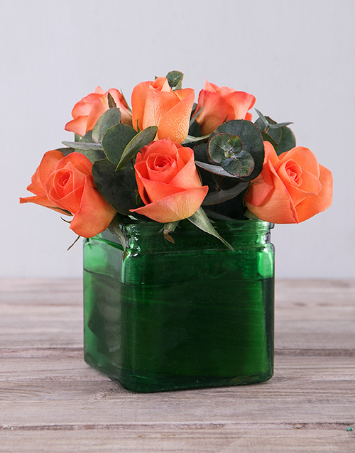 roses: Orange Roses in Green Square Vase!