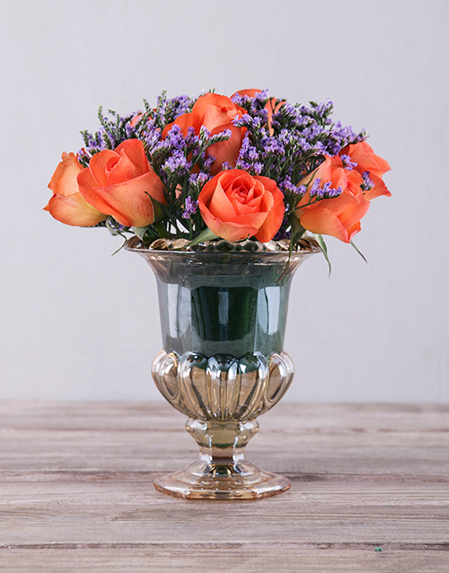 roses: Orange Roses in Petite Amber Vase!