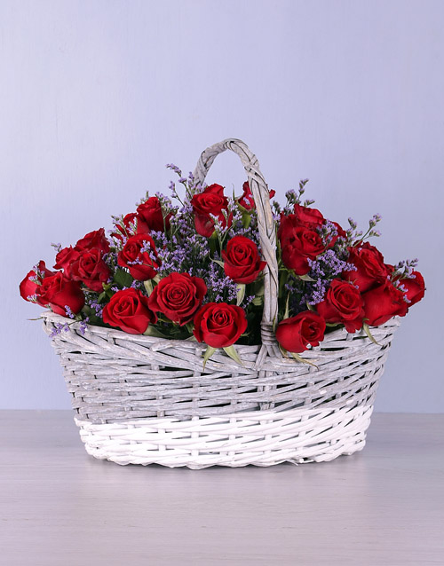 anniversary: Basket of Red Roses!