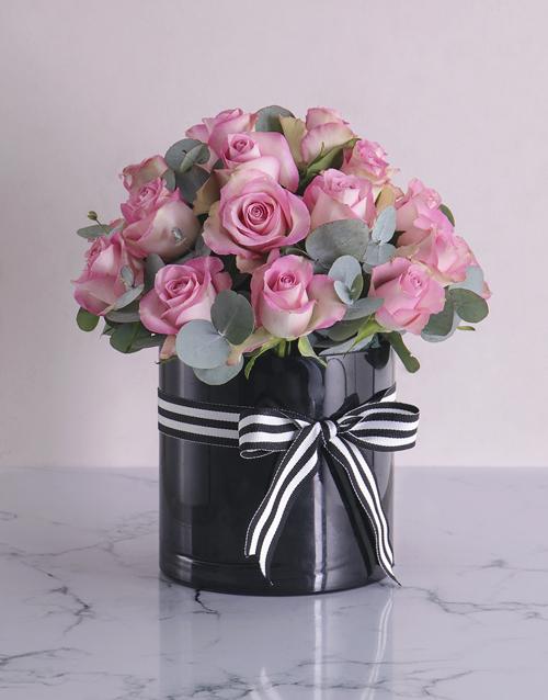 vase: Pink Roses in Cylinder Vase!
