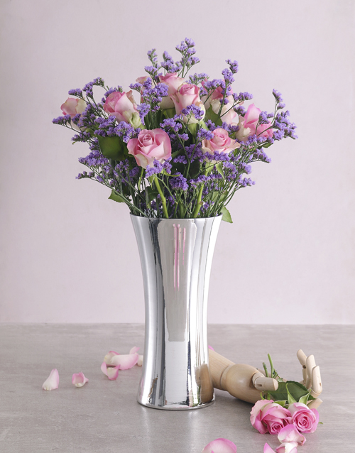 coloured-vases: Blushing Pink Roses in Silver Vase!
