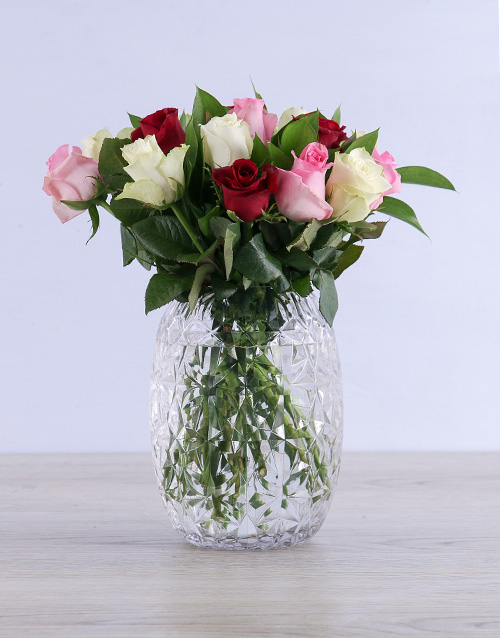 roses: Playful Mixed Roses in Cylinder Vase!