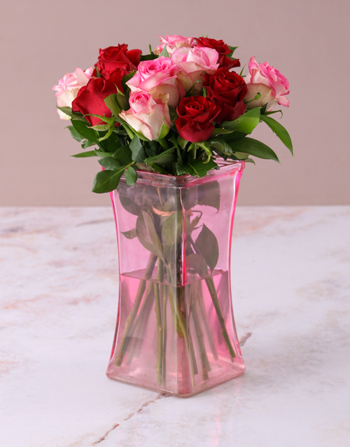 roses: Mixed Roses in Lady Pink Vase!
