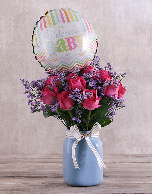 colour: Baby Cerise Roses in Blue Vase!