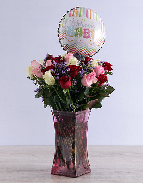vase: Mixed Roses and Baby Balloon!
