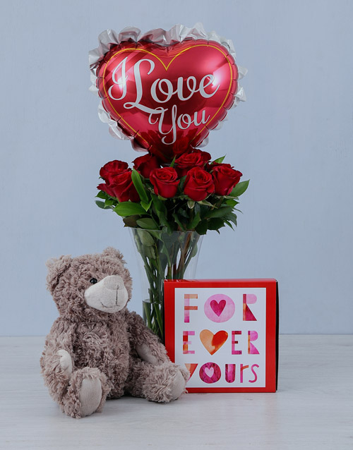 anniversary: Teddy Balloon and Red Roses Gift!