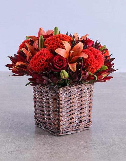 basket: Orange Flowers in Square Basket!
