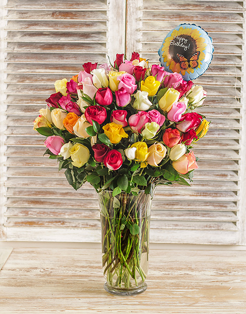 colour: 100 Mixed Roses in a Vase with Balloon!