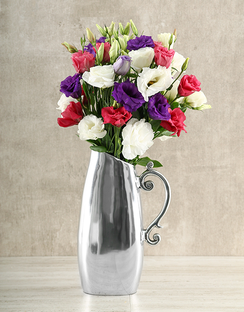 flowers: Mixed Lisianthus in Jug!