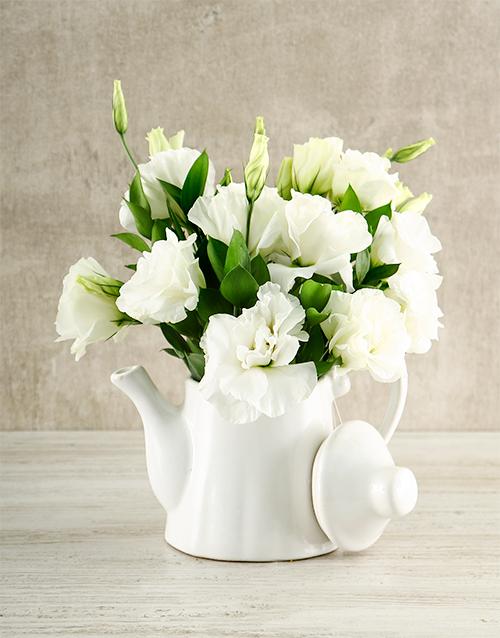 anniversary: White Elegance Tea Pot Arrangement!