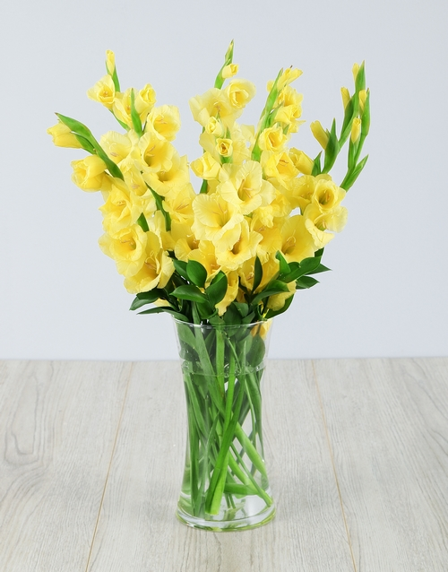 flowers: Yellow Gladiolus in a Glass Vase!