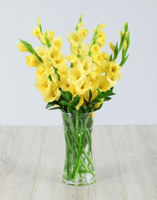 friendship: Yellow Gladiolus in a Glass Vase!