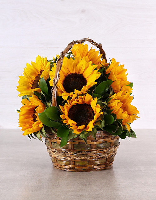 basket: Woven Basket of Sunflowers!