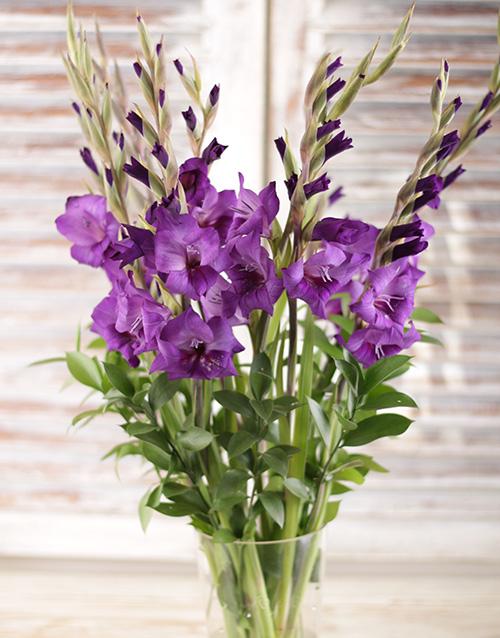 sympathy: Purple Gladiolus in a Clear Flair Vase!