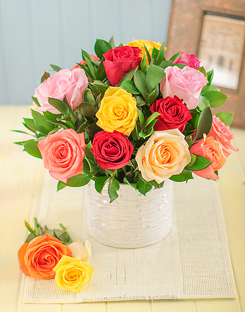 roses: Mixed Roses in a White Glazed Vase!