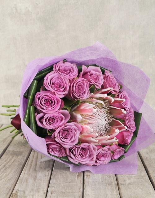 proteas: King Protea, Rose & Aspedistra Bouquet!