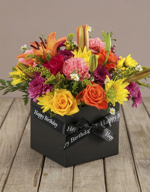 flowers: Birthday Blooms in a Black Box!