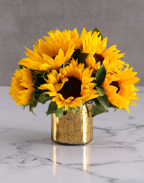 anniversary: Sunflowers in a Gold Vase!
