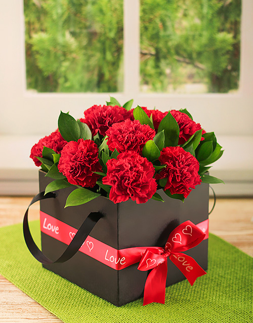 flowers: Crimson Carnations in a Box!