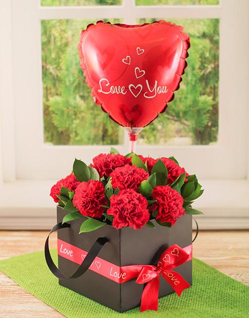 balloon: Romantic Box of Red Carnations!