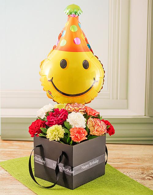 balloon: Smiley Balloon Mixed Carnation Box!