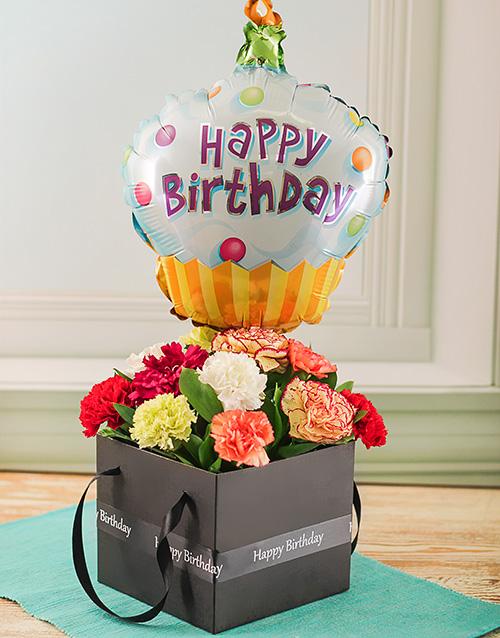 Happy Birthday Balloon Mixed Carnations In A Box
