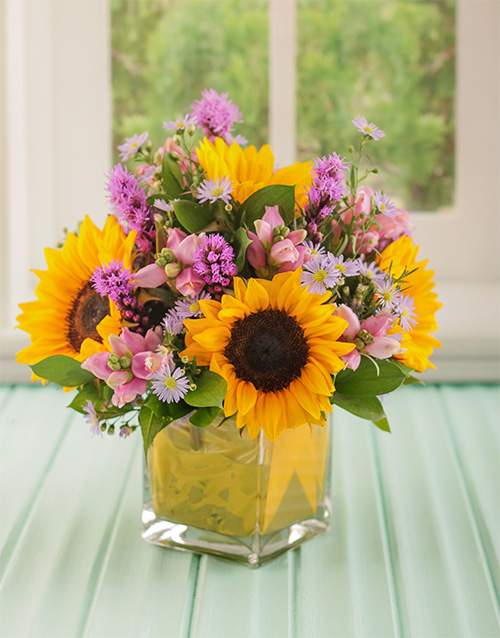 colour: Yellow and Purple Flowers in Square Vase!