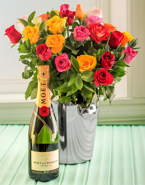 roses: Mixed Roses, Moet and Ice Bucket!