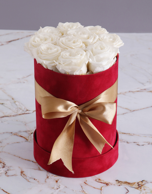 easter: Preserved White Roses in Tall Red Suede Box!