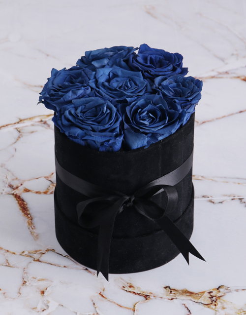 baby: Preserved Cobalt Roses in a Black Suede Box!