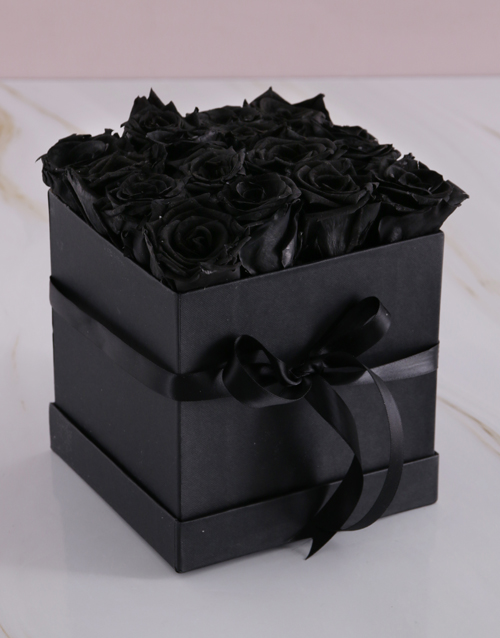 anniversary: Black Preserved Roses in a Box!