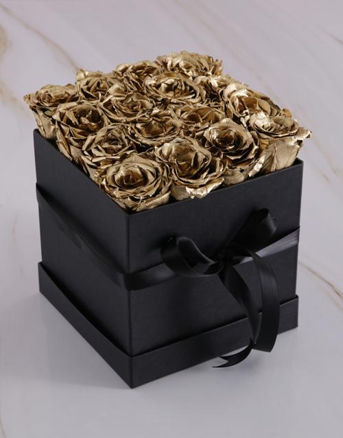 silk: Gold Preserved Roses in a Black Box!