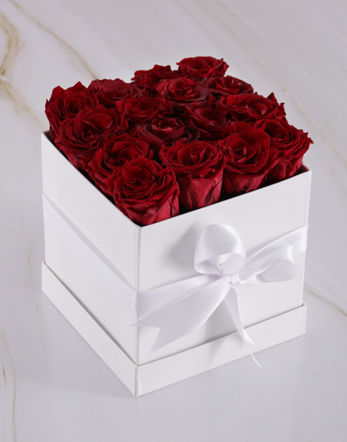 in-a-box: Red Preserved Roses in a White Box!