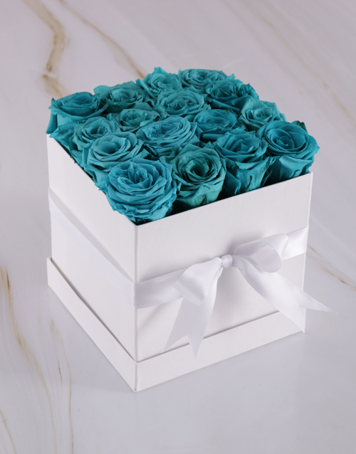 love-and-romance: Box of Pale Turquoise Preserved Roses!