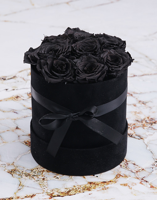love-and-romance: Black Preserved Roses in a Small Round Box!