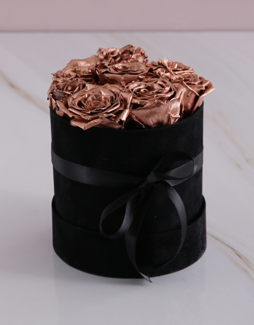 christmas: Rose Gold Preserved Roses in a Small Round Box!
