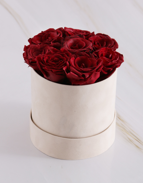 christmas: Red Preserved Roses in a Cream Box!