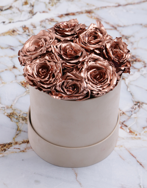 bosses-day: Rose Gold Preserved Roses in a Cream Box!