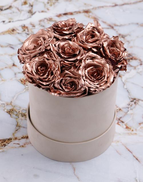 silk: Rose Gold Preserved Roses in a Cream Box!