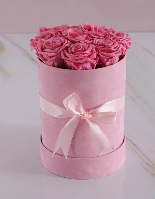 flowers: Large Pink Suede Box with Pink Preserved Roses!