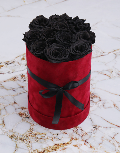 flowers: Large Red Suede Box with Black Preserved Roses!