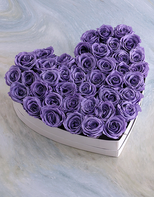 silk: White Heart Of Lilac Preserved Roses!