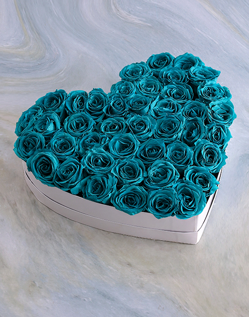 silk: White Heart Of Turquoise Preserved Roses!