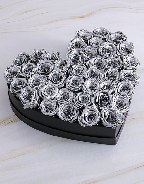 silk: Black Heart Of Silver Preserved Roses!