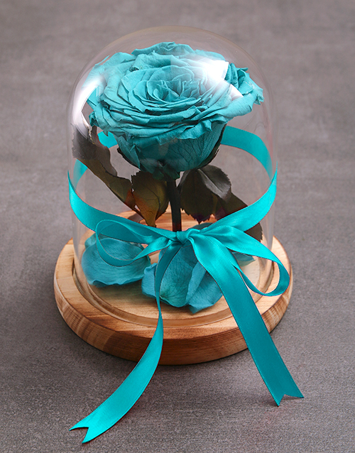 silk: Enchanted Preserved Turquoise Rose!